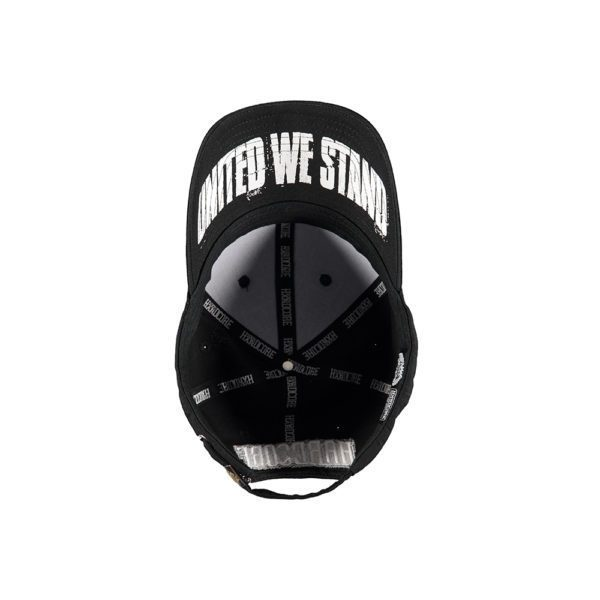 United we stand cap black and white. Big artwork with fist
