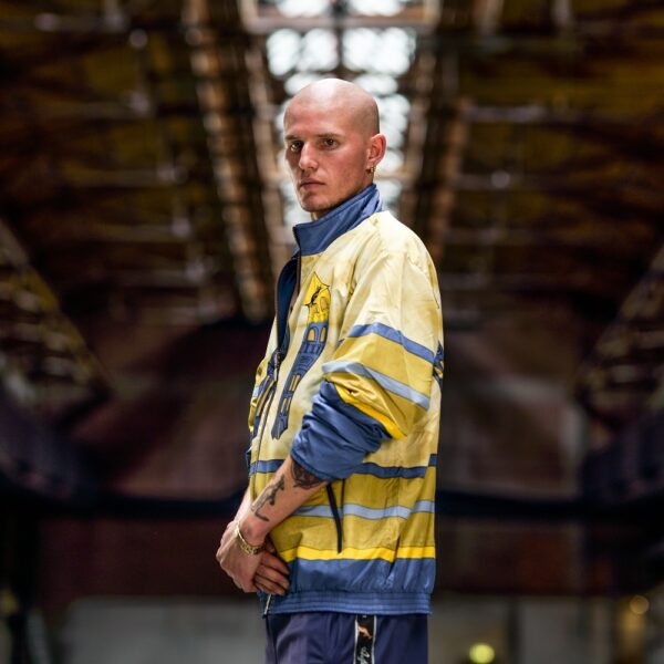 Australian beanie and oldschool jacket gabber worn.