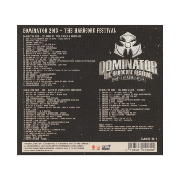 Official Dominator 2015 3-CD mixed by Tha Playah mainstream 100% Hardcore