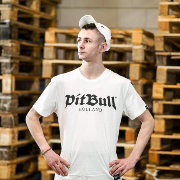 Pit Bull Holland T-shirt white old logo gabber streetwear by 100% Hardcore webshop