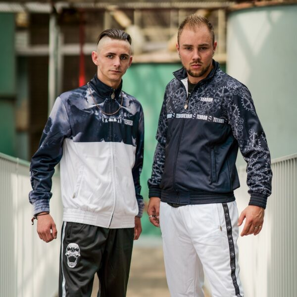 Terror training jacket model picture gabber by 100% hardcore webshop