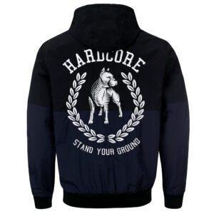 100% Hardcore windbreaker blue and black with pit bull gabber