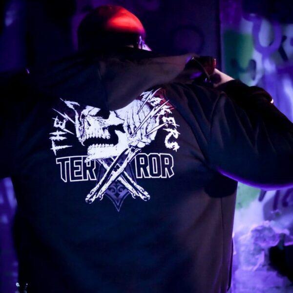 Terror hooded zipper worn by DJ Terrorclown for official 100% Hardcore webshop