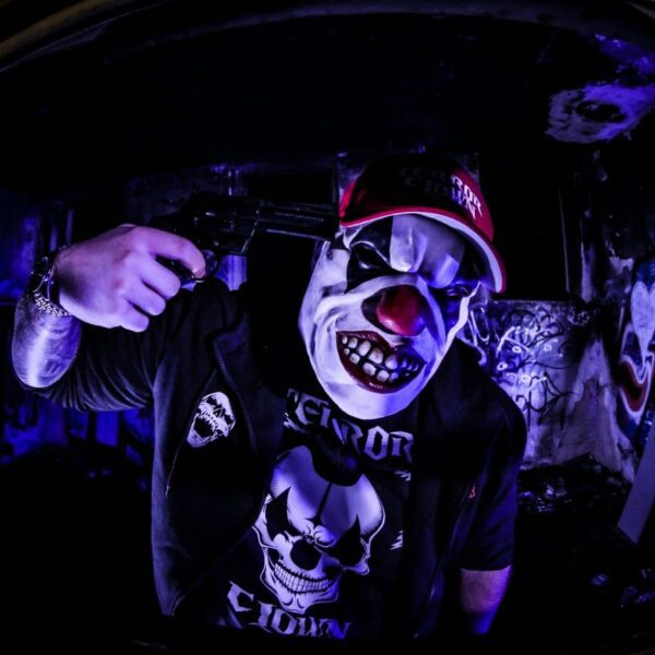 DJ Terrorclown wearing the new 100% Hardcore clothing collection
