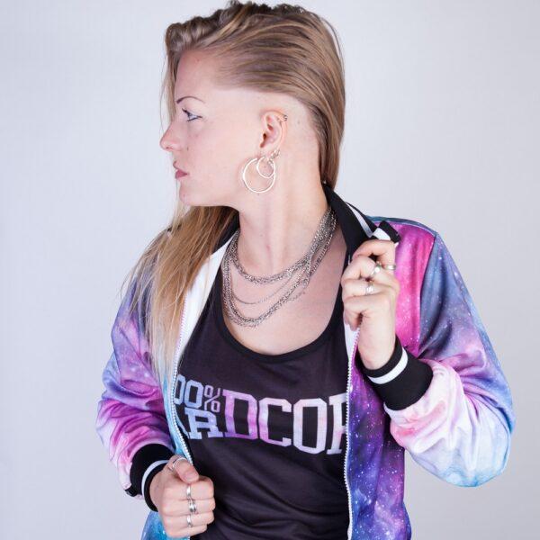 Gabber model Muisz wearing the new women collection by 100% Hardcore webshop