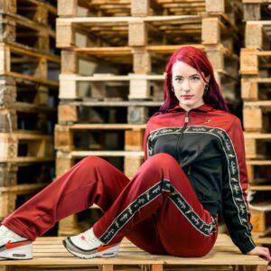 Aussie training suit burgundy red oldschool gabber australian with stripe at 100% Hardcore webshop