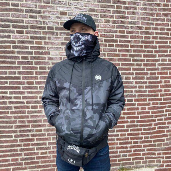 Stef wearing Pit Bull West Coast windbreaker camouflage streetwear hooligan