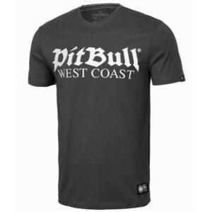 Pit Bull West Coast grey T-shirt old logo streetwear clothing official webshop dog logo gabberwear